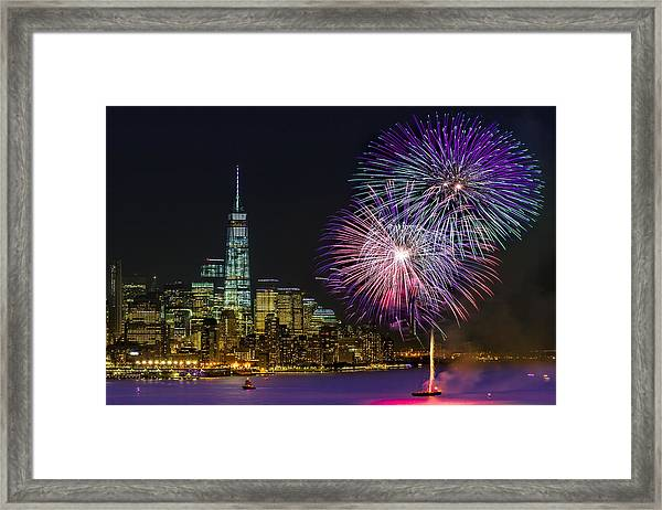 Framed Print featuring the photograph New York City Summer Fireworks by Susan Candelario