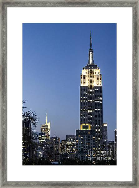Framed Print featuring the photograph New York Empire State Building  by Juergen Held