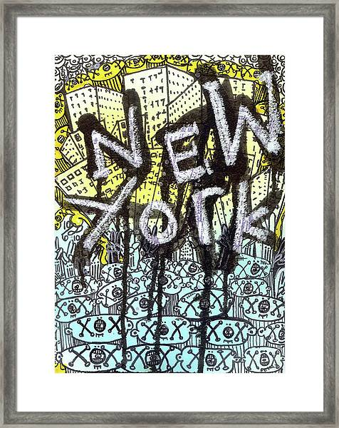 New York Graffiti Scene Framed Print
