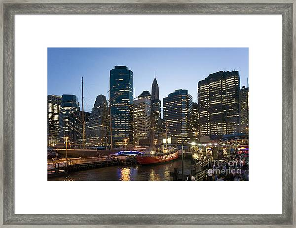 Framed Print featuring the photograph New York Manhattan Seaport by Juergen Held