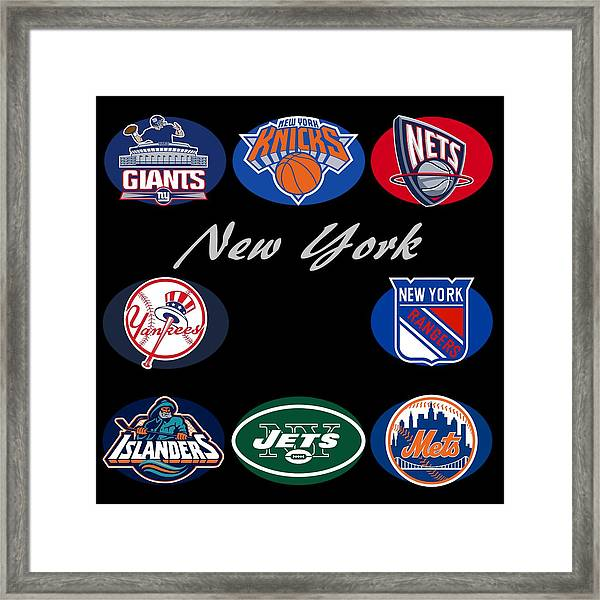 New York Professional Sport Teams Collage  Framed Print