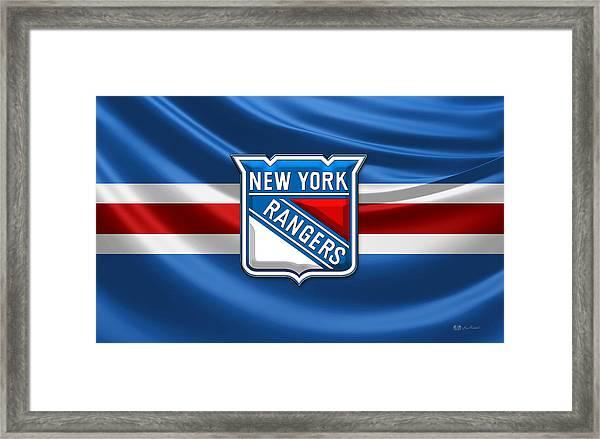 New York Rangers - 3d Badge Over Flag Framed Print