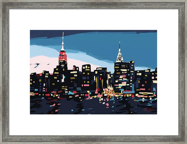 New York Skyline At Dusk In Navy Blue Teal And Pink Framed Print