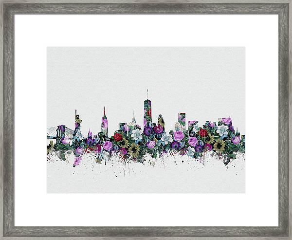 New York Skyline Floral 2 Framed Print
