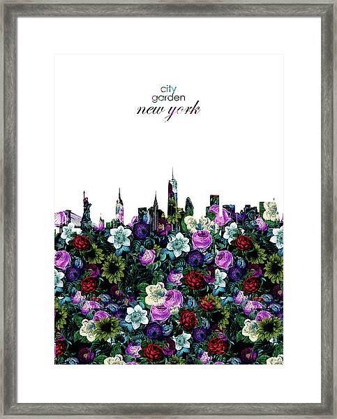New York Skyline Floral 3 Framed Print