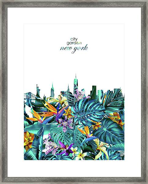 New York Skyline Floral  6 Framed Print