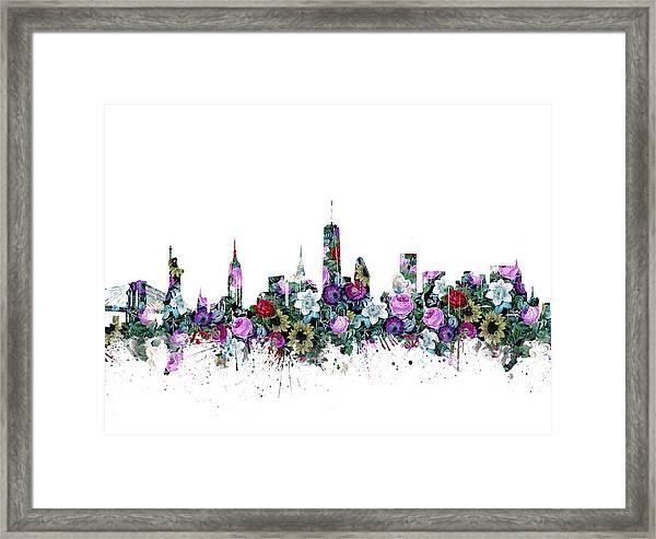 New York Skyline Floral Framed Print