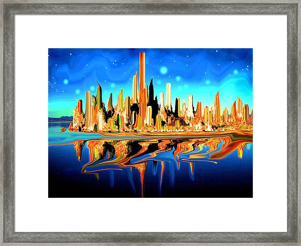 New York Skyline In Blue Orange - Modern Fantasy Art Framed Print