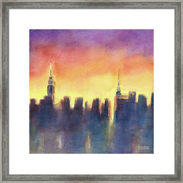 New York Sunset After The Rain Framed Print