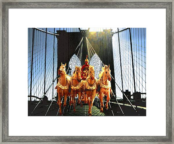 New York Brooklyn Bridge Fantasy Collage Framed Print