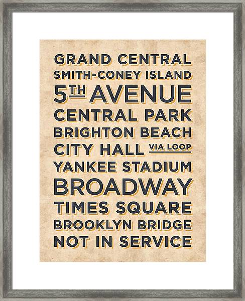 New York Train Stations Retro Vintage - Black On Cream Framed Print