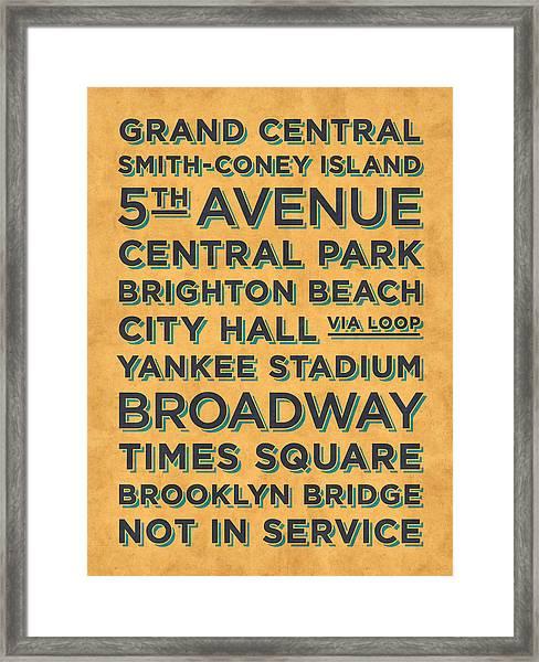 New York Train Stations Retro Vintage - Black On Yellow Framed Print