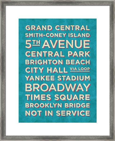 New York Train Stations Retro Vintage - Cream On Blue Framed Print
