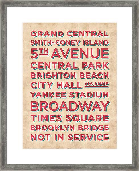 New York Train Stations Retro Vintage - Red On Cream Framed Print