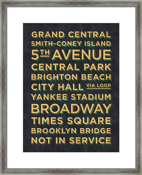 New York Train Stations Retro Vintage  - Yellow On Black Framed Print