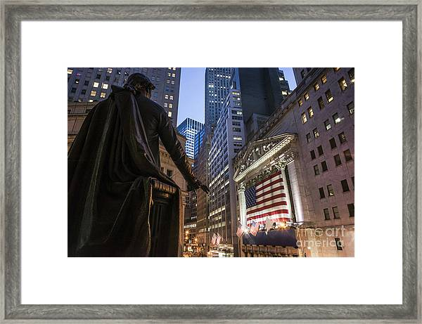 Framed Print featuring the photograph New York Wall Street by Juergen Held
