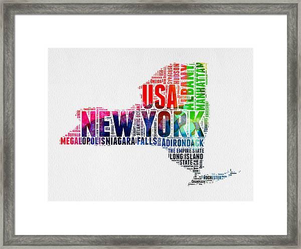 New York Watercolor Word Cloud Map Framed Print