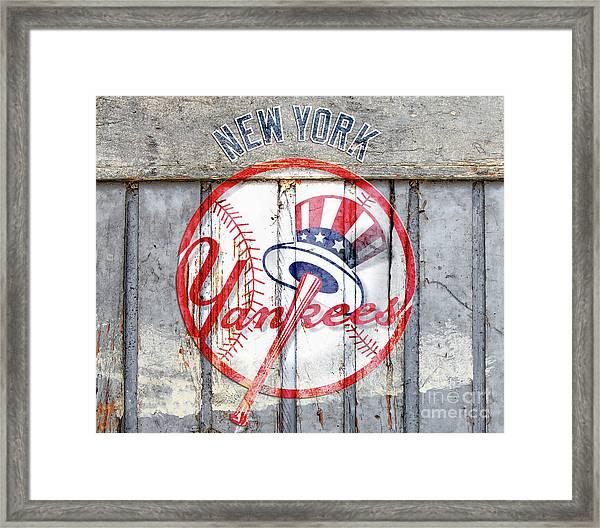 New York Yankees Top Hat Rustic Framed Print