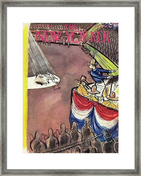 New Yorker Magazine Cover Of A Rodeo Framed Print by Victor De Pauw