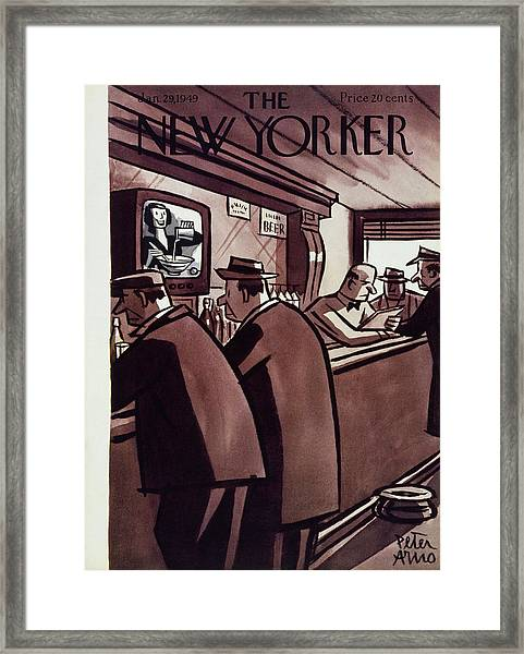 New Yorker Magazine Cover Of Men In A Bar Framed Print by Peter Arno