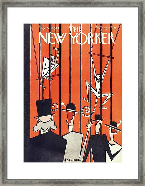 New Yorker Magazine Cover Of People Looking Framed Print