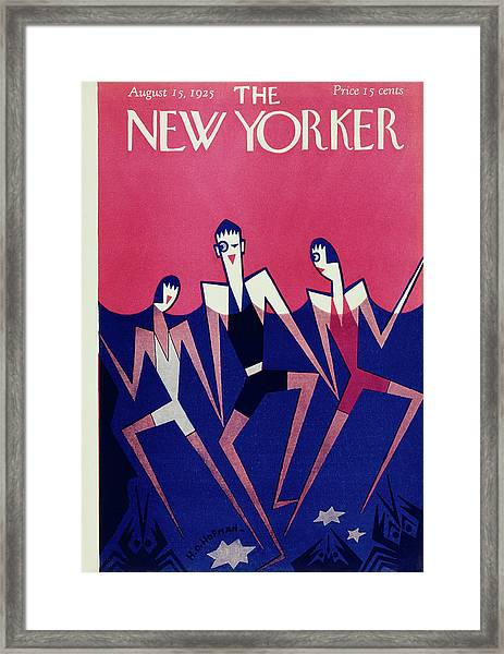New Yorker Magazine Cover Of People Swimming Framed Print