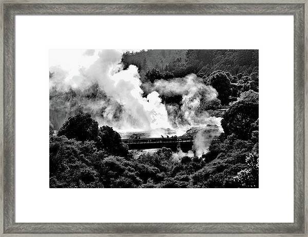 New Zealand - Figures Against Hot-steam - Black And White Framed Print