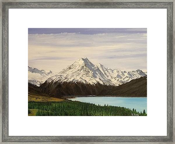 Framed Print featuring the painting New Zealand Lake by Kevin Daly