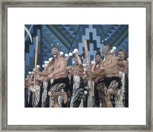 Framed Print featuring the photograph New Zealand,north Island,  Rotorua Arts Festival,dance And Singi by Juergen Held