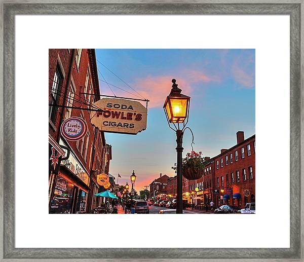 Newburyport Ma High Street Lanterns At Sunset Fowle's Framed Print