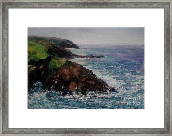 Framed Print featuring the painting Newlyn Cliffs 2 by Genevieve Brown