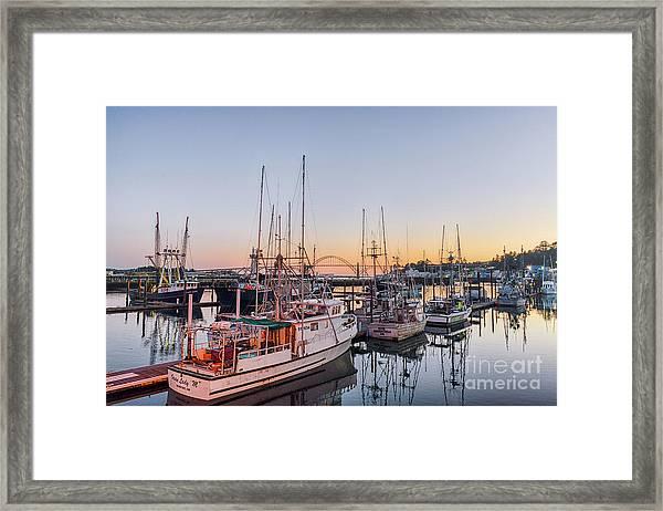 Newport Harbor At Dusk Framed Print