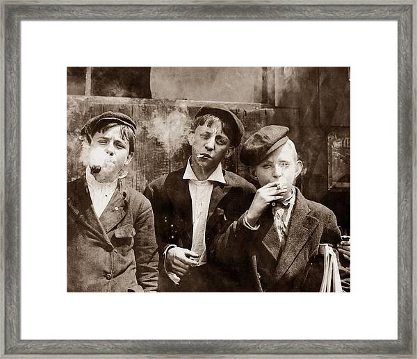 Newsboys Smoking - 1910 Child Labor Photo Framed Print