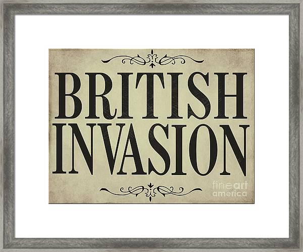 Newspaper Headline British Invasion Framed Print