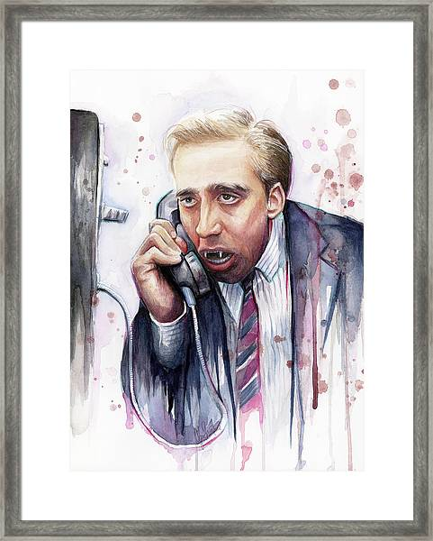 Nicolas Cage A Vampire's Kiss Watercolor Art Framed Print