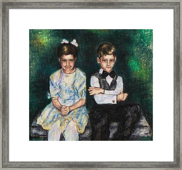 Niece And Nephew At The Wedding Framed Print