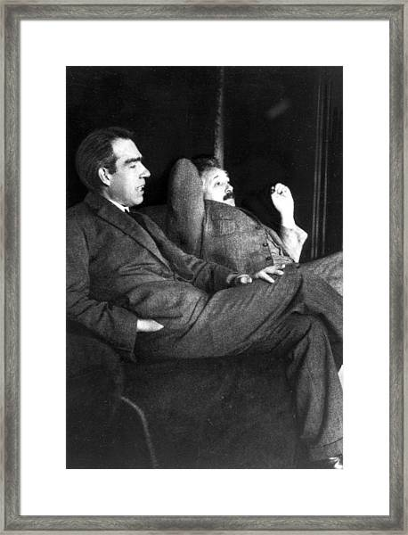 Niels Bohr And Albert Einstein Framed Print