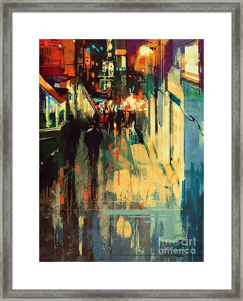 Framed Print featuring the painting Night Alleyway by Tithi Luadthong