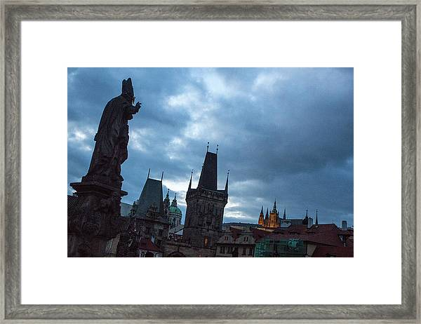 Framed Print featuring the photograph Night Along The St. Charles Bridge by Matthew Wolf