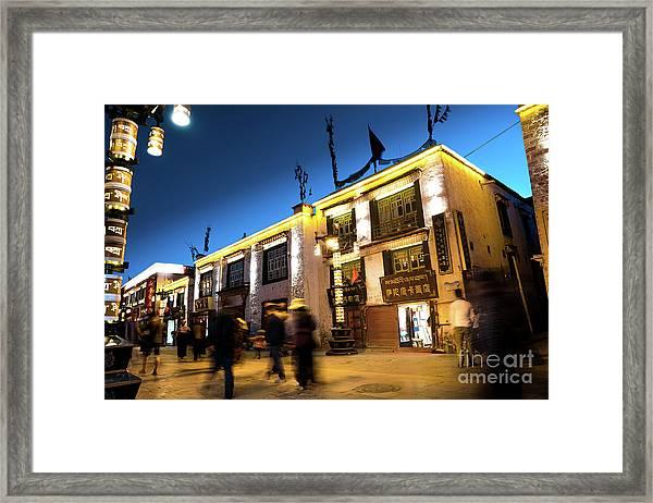 Night At Jokhang Temple Lhasa Kora Tibet Artmif.lv Framed Print