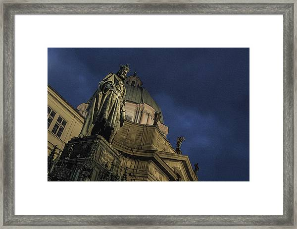Framed Print featuring the photograph Night At The Foot Of St. Charles Bridge by Matthew Wolf