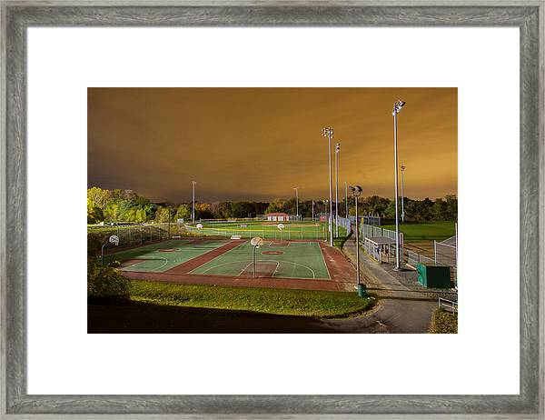Night At The High School Basketball Court Framed Print