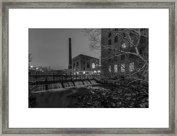Night At The River 2 In Black And White Framed Print