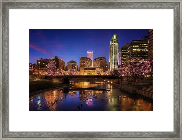 Night Cityscape - Omaha - Nebraska Framed Print