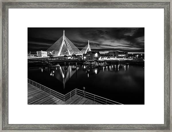 Night Falling On Zakim Bridge Framed Print