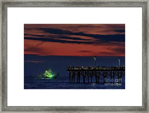 Framed Print featuring the photograph Night Fishing by DJA Images