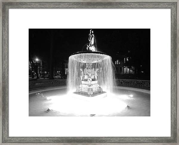 Night Fountain Framed Print