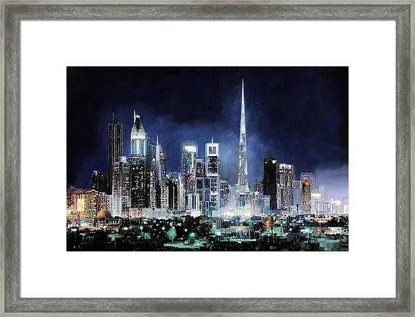 night in Dubai City Framed Print