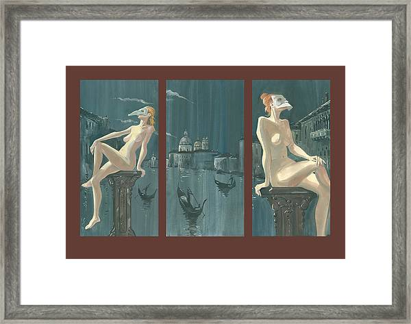 Night In Venice. Triptych Framed Print