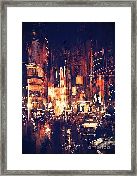 Framed Print featuring the painting Night Life by Tithi Luadthong